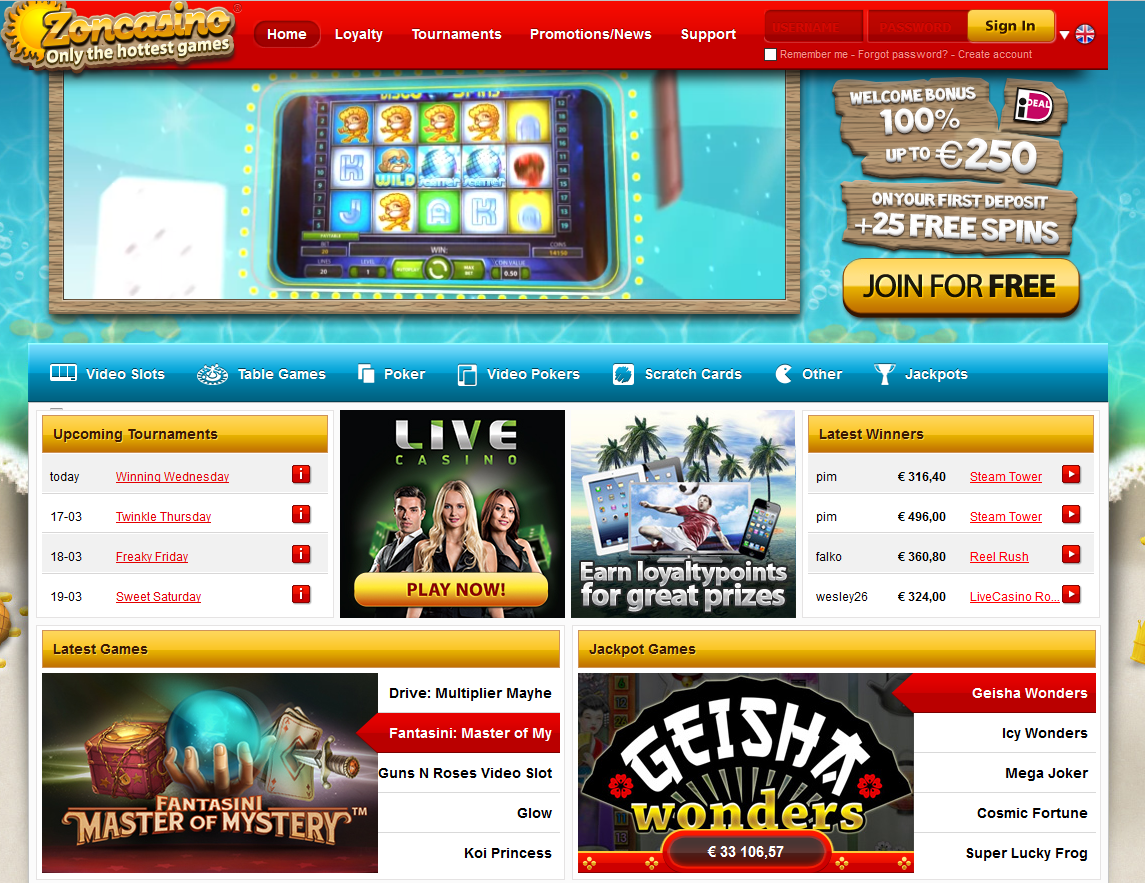 Zon Casino Screenshot